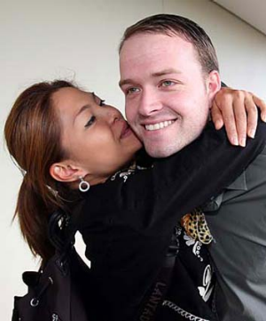 ON BAIL: Bram van der Kolk is reunited with his wife Asia after his bail application was accepted.