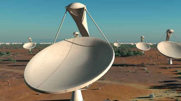 An arists impression of part of the proposed  radio telescope.