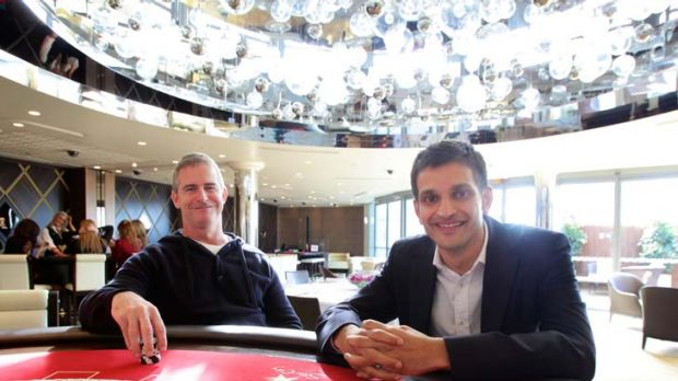 Larry Mullin, CEO Echo Entertainment with Sid Vaikunta, Managing Director of Star City in the new High Rollers Room at ...