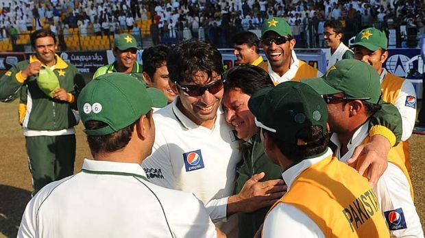 Winning edge: The Pakistan team, led by Misbah-ul-Haq celebrates its 3-0 series drubbing of England this month.