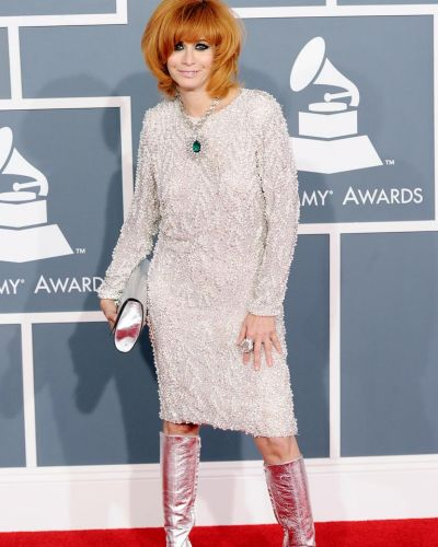 Linda Ramone arrives at the Grammy Awards.