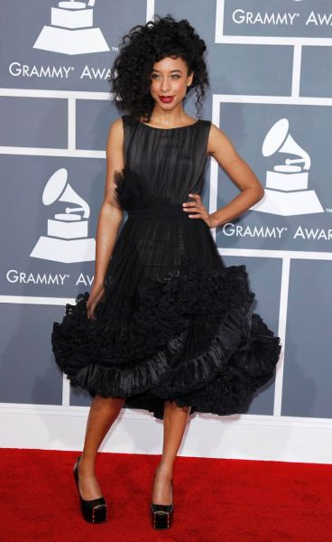 Corinne Bailey Rae in a Christian Siriano gown at the Grammy Awards.