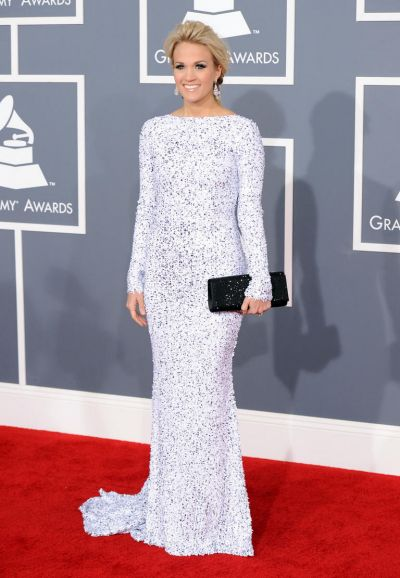 Carrie Underwood arrives at the Grammy Awards.