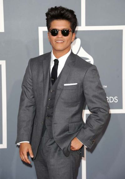 Bruno Mars arrives at the Grammy Awards.