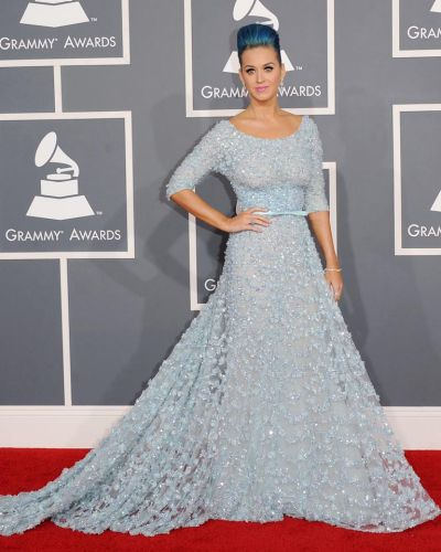 Got the blues ... Katy Perry colour coordinates her hair and her dress.