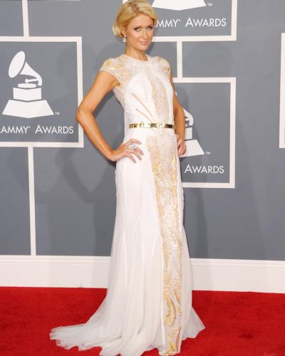 Paris Hilton arrives at the Grammy Awards.