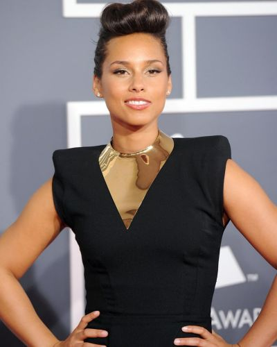 Alicia Keys arrives at the Grammy Awards.