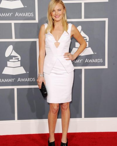 Malin Akerman arrives at the Grammy Awards.