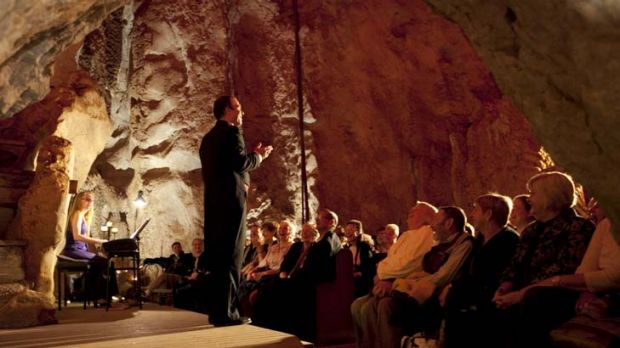 Captive crowd … the opera singer Douglas McRae performs in the Capricorn Caves in Rockhampton for the Underground ...