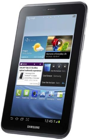 The Samsung Galaxy Tab 2, running Google's Android Ice Cream Sandwich operating system.