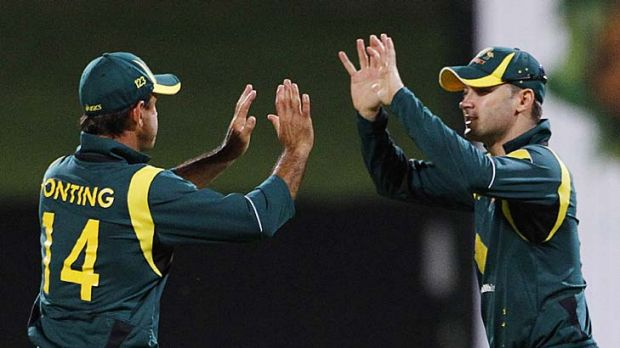 Leading the side ... Ricky Ponting, left, will take over from Michael Clarke, who is injured.