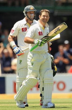 Ricky Ponting - pictured with Mike Hussey after notching a double century against India in Adelaide - is showing his ...