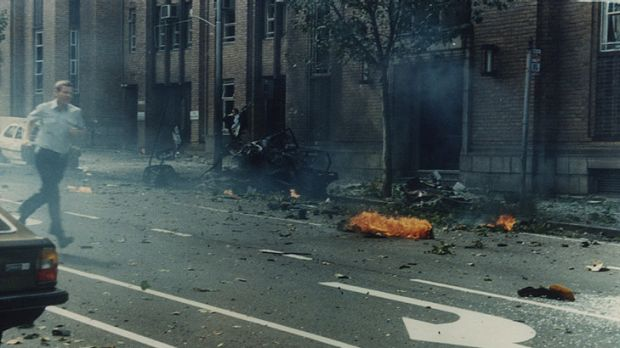 The scene of the Russell Street bombing, which killed policewoman Angela Taylor.