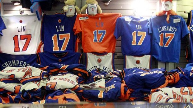 Merchandise galore ... Jeremy Lin items are proving popular.