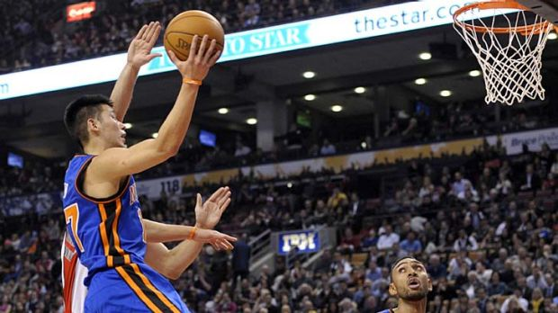 A star is born  ... New York Knicks guard Jeremy Lin goes up for a basket.