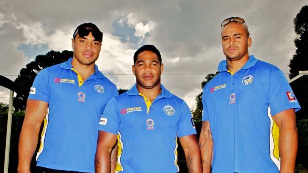 Pride of Cherbourg ... Willie Tonga, Chris Sandow and Esi Tonga in their new Parramatta colours.