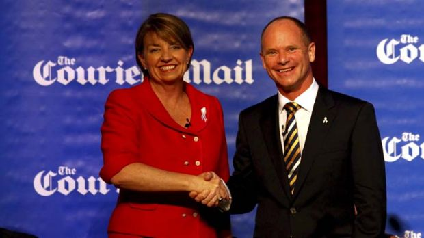 Anna Bligh and Campbell Newman.
