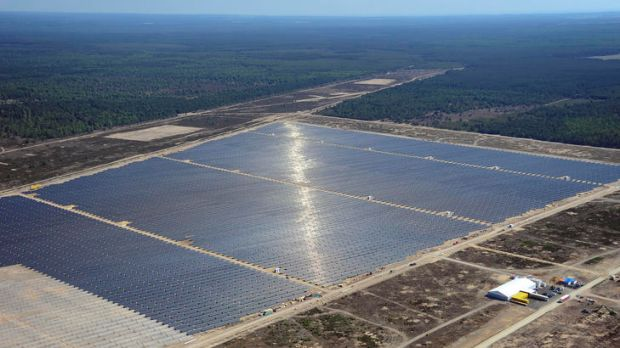 An aerial view shows the Lieberose solar farm, which became the world's second biggest solar power plant and Germany's ...