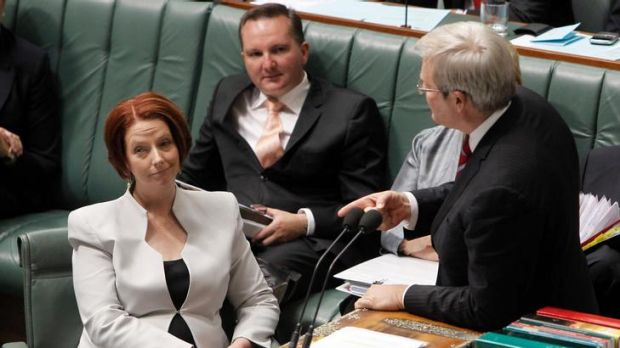 Prime Minister Julia Gillard and Foreign Minister Kevin Rudd during question time this week.