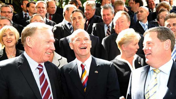 Campbell Newman (centre) stands with the LNP's then-leader Jeff Seeney (left) and LNP shadow treasurer Tim Nicholls ...