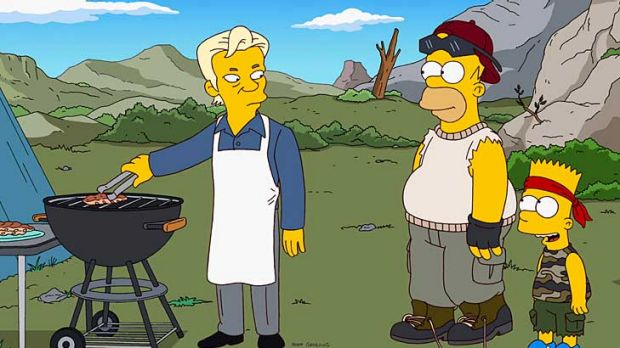 WikiLeaks founder Julian Assange (left) is depicted in <i>The Simpsons</i>.
