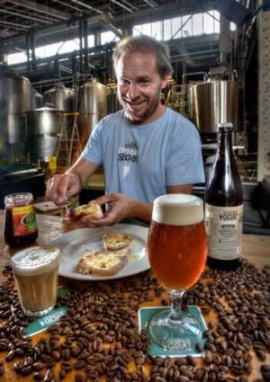 Beer and toast are the go for Mountain Goat's Dave Bonighton at the Melbourne Food and Wine Festival's 'Beer Breakfast'.