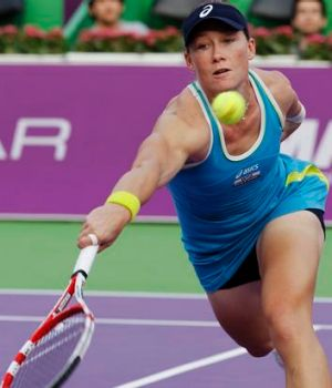 Hitting form: Sam Stosur on the way to beating Monica Niculescu.
