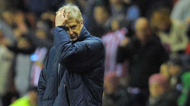 Arsenal manager Arsene Wenger reacts during his side's loss to Sunderland in the fifth round of the FA Cup.