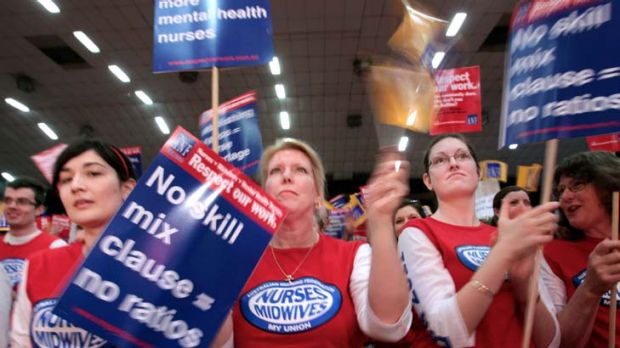 Nurses vote on industrial action last November.