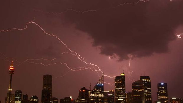 Storm ... lightning hits the city last night.