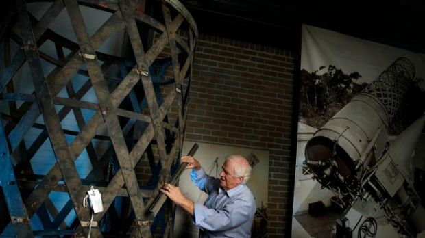 Campbell Johns, one of the volunteers at the Museum Victoria storeroom in Coburg, works on the restoration of the Great ...