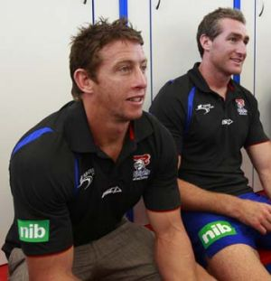Flash digs … Kurt Gidley and Chris Houston at the new training base in Mayfield West.