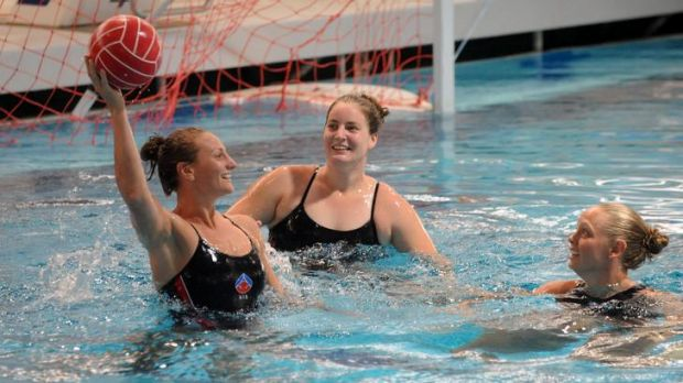 Australian olympic waterpolo  squad  players  Melissa Rippon, left, Ash Suthern and Kate Gynther at the  are in training ...