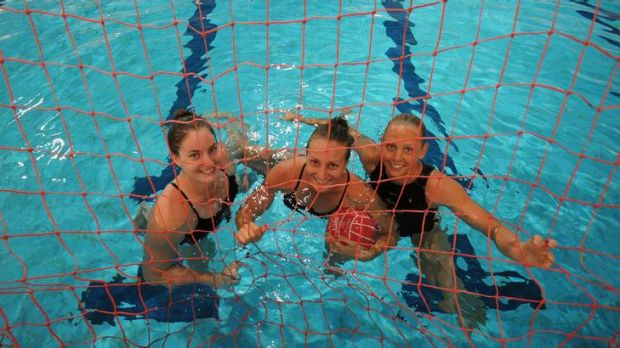 Australian olympic waterpolo  squad  players  Ash Suthern, left, Melissa Rippon and Kate Gynther at the  are in training ...