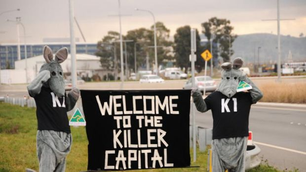 Killer capital ... the Animal Army protesting against the persecution of the eastern grey kangaroo in the capital.