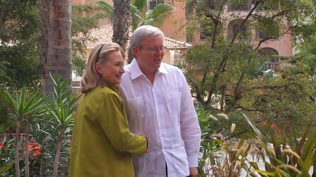 As Julia Gillard faces leadership questions in Australia, Mr Rudd is in Mexico at a G20 meeting. He posted a video of ...
