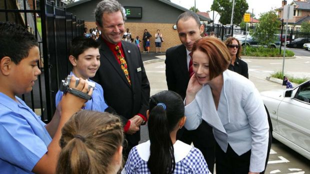 Julia Gillard meets students at Our Lady of the Rosary in Sydney today, with local MP David Bradbury.