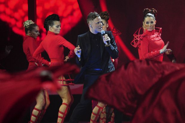 British singer Olly Murs performs on stage.