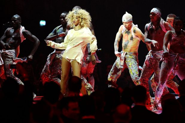 Rihanna puts on a show at the Brit Awards.