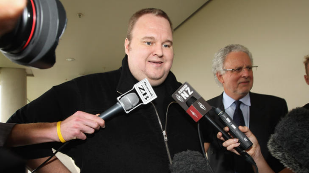 Kim Dotcom briefly speaks to media after being released on bail at North Shore District Court today