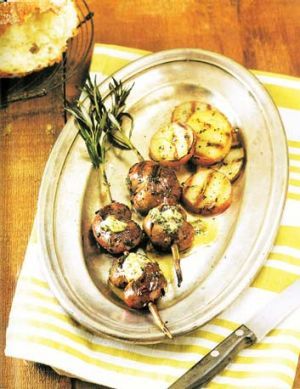 Grilled lamb kidneys with rosemary anchovy butter