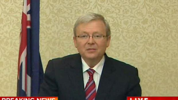 Kevin Rudd resigns in an early morning press conference for the US.