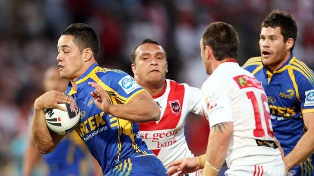 Finals tormentor ... Jarryd Hayne from the eighth-placed Eels plays an inspired game to topple the 2009 minor premiers, ...