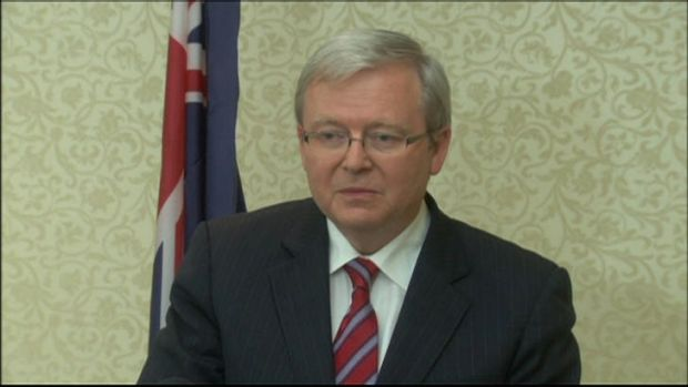 Screengrab of Kevin Rudd's resignation on Wednesday. Courtesy of ABC News.