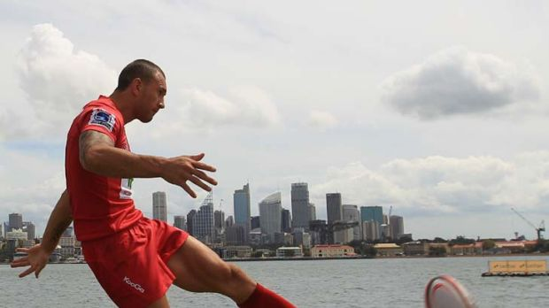 Rebooted … rejuvenated Reds five-eighth Quade Cooper at Sydney Harbour as his Queensland side prepare to take on ...