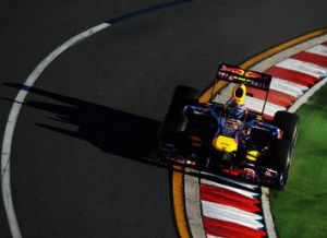 Mark Webber racing for Red Bull in the 2011 Australian Formula One Grand Prix.