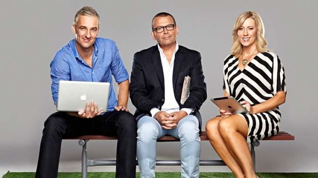Three becomes two ... Andrew Rochford with former co-hosts Paul Henry and Kathryn Robinson.