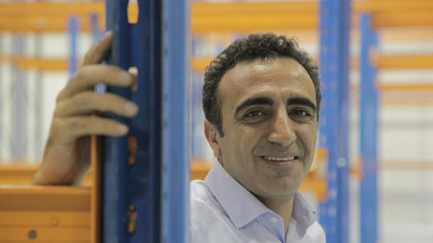 Hamdi Ulukaya at the Melbourne plant under construction.