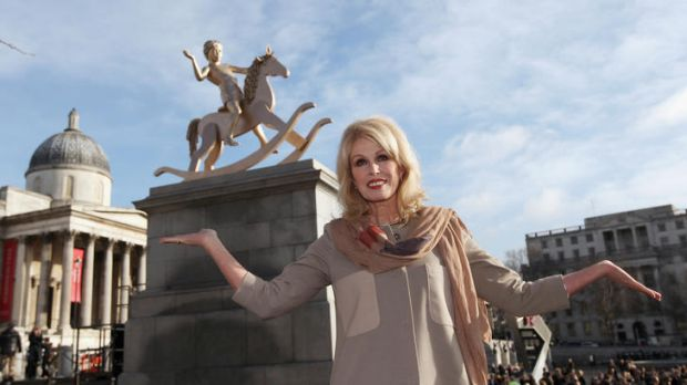 Actress Joanna Lumley unveils a sculpture entitled 'Powerless Structures', by Danish artist Michael Elmgreen and ...