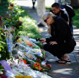 Shrine ...  mourners outside Steve Jobs's Silicon Valley home.